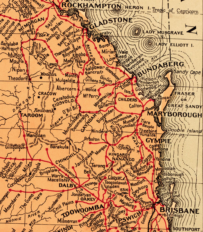 old map of queensland australia 1939 product image