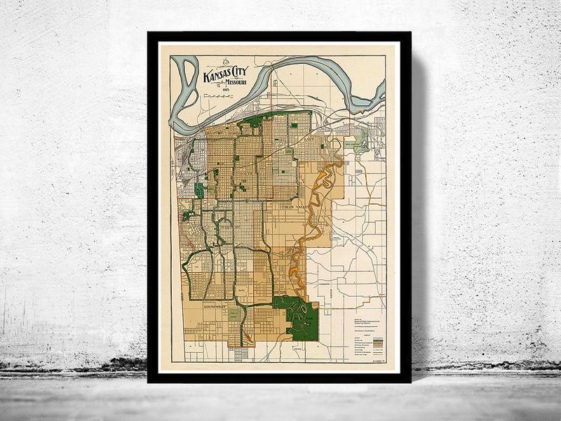 Vintage map of Kansas City, Missouri, 1915 - OLD MAPS AND VINTAGE PRINTS
