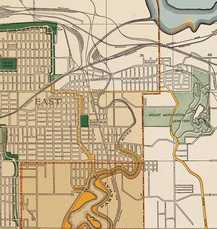 Vintage map of Kansas City, Missouri, 1915