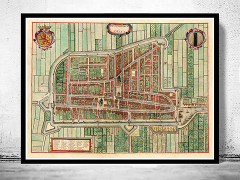 Old,Map,of,Delft,Netherlands,1640,vintage delft, delft map, delft print, map of delft, delft city