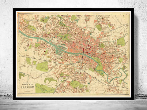 Old,Map,of,Glasgow,,Scotland,1917,glasgow, map of glasgow, glasgow plan, glasgow poster, glasgow map, glasgow scotland
