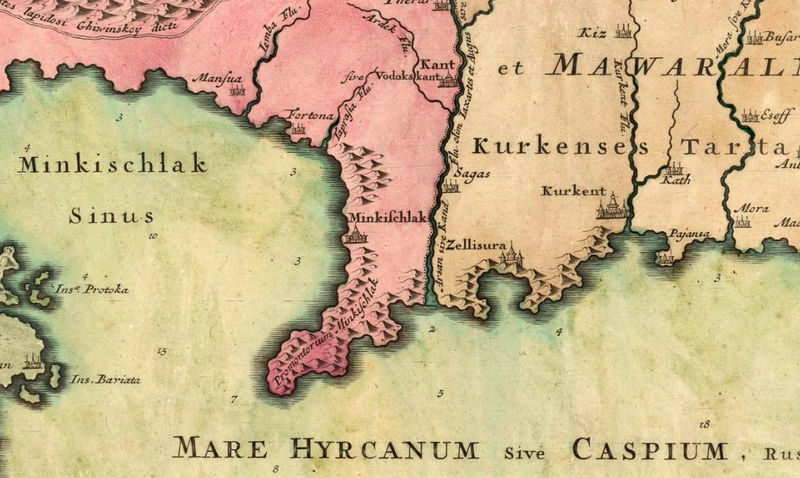 Old Map of Caspian Sea 1750 OLD MAPS AND VINTAGE PRINTS