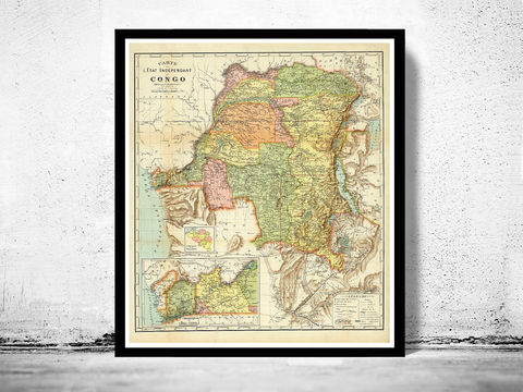 Old,Map,of,Congo,Africa,1910,congo map, congo africa, old map of congo, congo poster