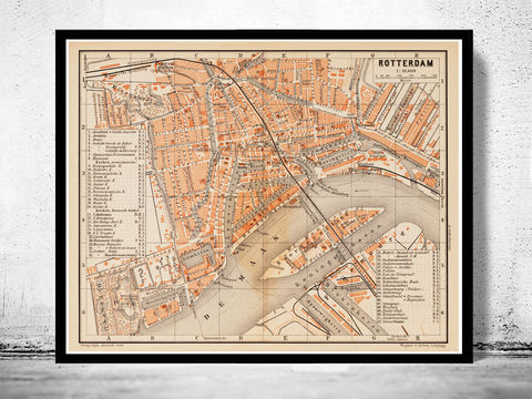 Old,Map,of,Rotterdam,Netherlands,1891,rotterdam, rotterdam map, map of rotterdam, old map, amsterdam map