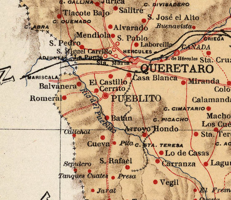 Old map of Queretaro Mexico 1922 OLD MAPS AND VINTAGE PRINTS