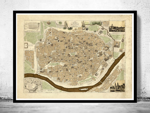 Old,Map,of,Seville,Sevilla,,Spain,1848,seville, sevilla, map, gravure, old map, old map of sevilla, seville spain