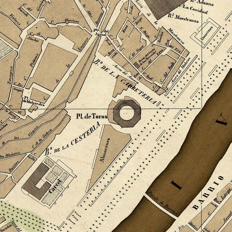 Old Map of Seville Sevilla, Spain 1848 - OLD MAPS AND VINTAGE PRINTS