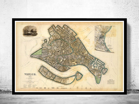 Vintage,Map,of,Venice,Venetia,Venezia,1838,Art,Reproduction,Open_Edition,plan,venice,Italy,1886,old_map,italia,Veneza,city_plan,vintage_map,map_of_venice,venice_poster,venice_map