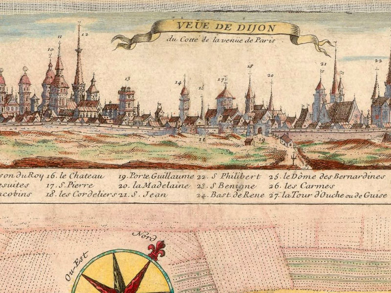 Old Map of Dijon 1730 OLD MAPS AND VINTAGE PRINTS