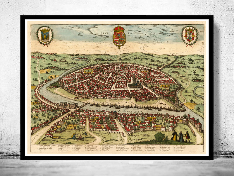 Old Map of Seville Sevilla Spain 1590 OLD MAPS AND VINTAGE PRINTS