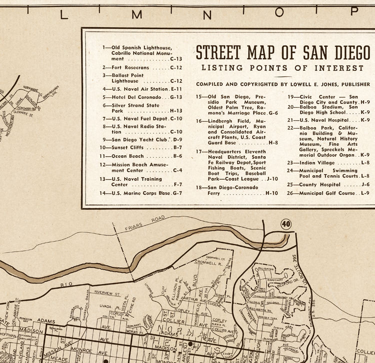 Old Map San Diego California 1935 Old Maps And Vintage Prints