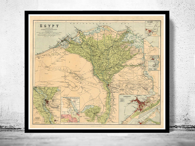 Old Map Of Egypt And Main Cities OLD MAPS AND VINTAGE PRINTS - Vintage map of egypt