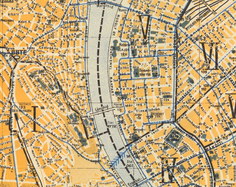 Old Map of Budapest Hungary 1935 - OLD MAPS AND VINTAGE PRINTS
