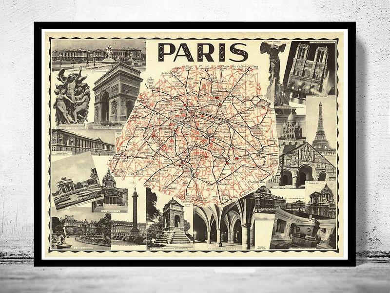 old map of paris guide 1937 old maps and vintage prints. Black Bedroom Furniture Sets. Home Design Ideas