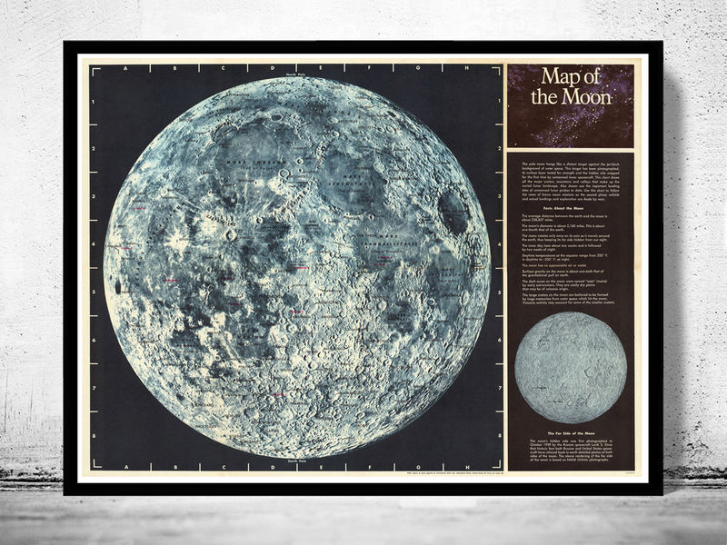 Vintage Map of The Moon 1969 - OLD MAPS AND VINTAGE PRINTS