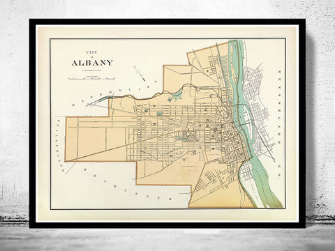 Old,Map,of,Albany,New,York,1895,Art,Reproduction,Open_Edition,United_States,new_york,albany, albany new york , ny, albany map, map of albany, albany plan, albany poster