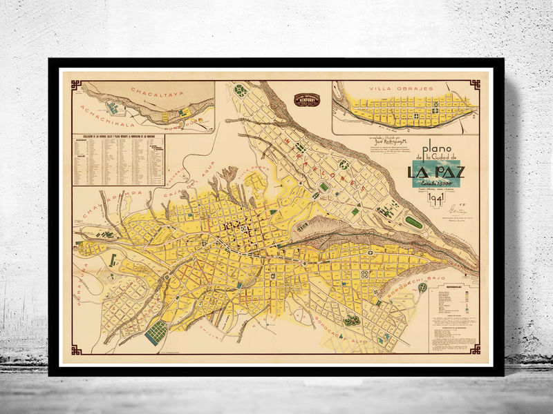 Old Map of La Paz Bolivia 1941 OLD MAPS AND VINTAGE PRINTS