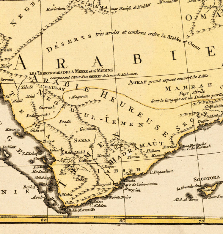 Old Map of Middle East Arabian Peninsula 1790