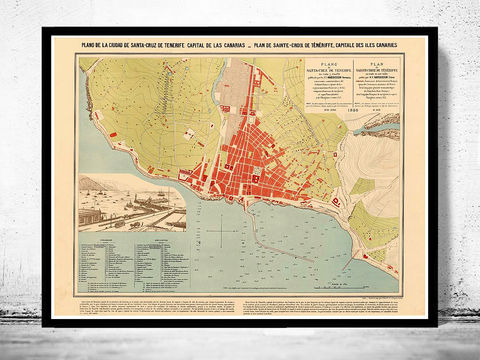 Old,Map,of,Santa,Cruz,Tenerife,Canary,Islands,1880,mapa de santa cruz tenerife,Vintage map  , vintage poster  , old map  , portugal , canarias  , tenerife  , tenerife map  , map of tenerife , mapa  , tenerife poster  , spain  , spanish map