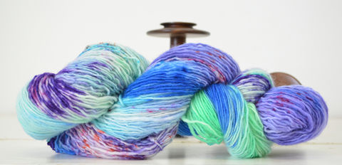 Jabberwocky,yarn, hand dyed, speckle dyed, flourescent, wool
