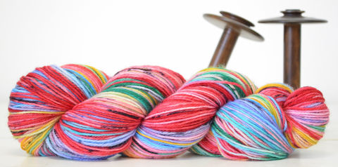 Ruby,Rainbow,yarn, hand dyed, wool