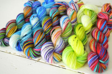 Rainbow,Pop,Mini,Skein,Pack,mini skeins, minis, yarn minis, sample yarns , sample pack , sample skeins, christmas minis, holiday minis, Happy Holiday minis