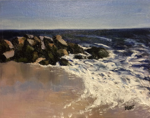 Landscape,Seascape,Beach,Waves,Original,Oil,Painting,on,Canvas,,Breaker, ocean, beach, rocks, oil, painting, blue, white, brown, green, oil painting, art, alla prima