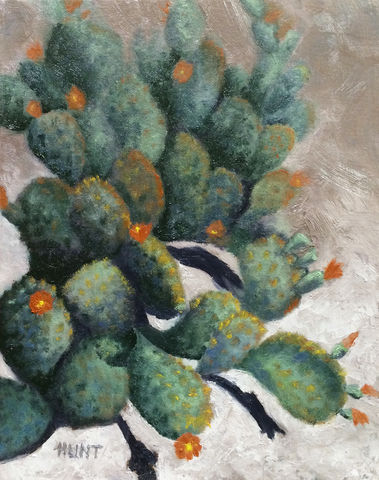 Landscape,Cacti,Original,Oil,Painting,on,Canvas,,Prickly,cactus, green, orange, tan, diane hunt studio, prickly pear cactus, flowers, oil painting, painting, alla prima, art