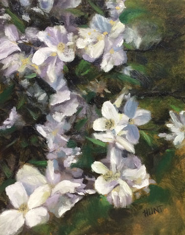 Floral,Mock,Orange,Original,Oil,Painting,on,Canvas,,Delight,mock orange, white, green, purple, blue, diane hunt studio, floral, flowers, painting, oil painting, art, alla prima