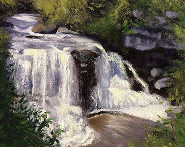 Landscape,Waterfall,Original,Oil,Painting,on,Canvas,,Blackwater,waterfall, green, purple, white, diane hunt studio, landscape, river, painting, oil painting, alla prima