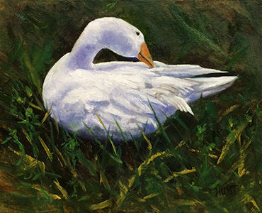 Animal,Bird,Goose,Original,Oil,Painting,on,Canvas,,Preening,goose, green, purple, blue, white, diane hunt studio, animal, art, painting, oil painting, farm, country, nature, bird