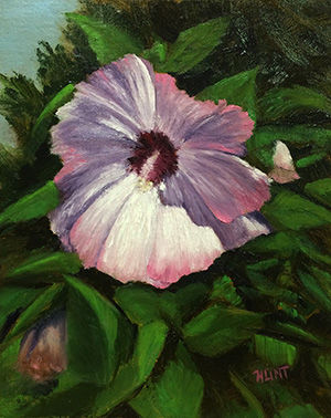Floral,Hibiscus,Original,Oil,Painting,on,Canvas,,Picot,hibicus, white, green, pink, diane hunt studio, floral, flowers, garden, painting, art, oil painting, alla prima