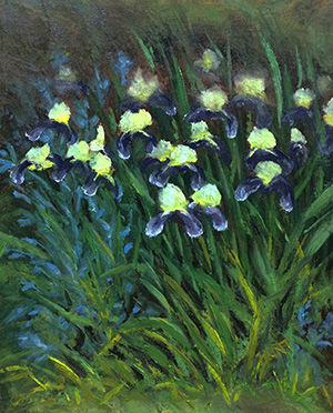 Floral,Landscape,Original,Oil,Painting,on,Canvas,,Profusion,iris, white, purple, yellow, green, diane hunt studio, floral, flowers, garden, painting, art, landscape, alla prima, oil painting
