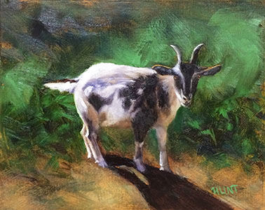Animal,Goat,Original,Oil,Painting,on,Canvas,,Friendly,Goat,goat, green, white, brown, diane hunt studio, animal, art, painting, oil painting, farm, country, nature, alla prima