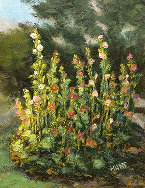 Floral,Landscape,Hollyhocks,Original,Oil,Painting,on,Canvas,,Hollyhock,Garden,hollyhocks, white, red, pink, yellow, green, diane hunt studio, floral, flowers, garden, painting, art, landscape, alla prima, oil painting