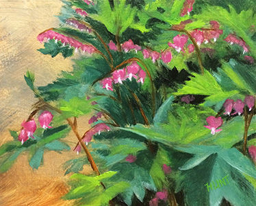 Floral Bleeding Heart Original Oil Painting on Canvas,