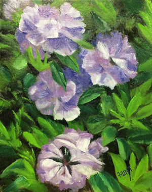 Floral,Rhododendron,Original,Oil,Painting,on,Canvas,,Lavender,Spring,blossums, lavender, green, diane hunt studio, floral, flowers, rhododendron, alla prima, oil painting