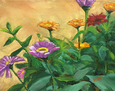Floral,Zinnia,Original,Oil,Painting,on,Canvas,,Zinnia,Garden,blossums, zinnia, green, orange, pink, purple, red, diane hunt studio, floral, flowers, alla prima, oil painting