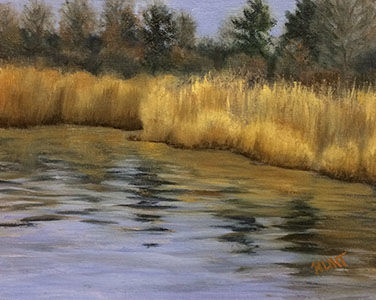 Landscape,River,Original,Oil,Painting,on,Canvas,,Water's,Edge,waterscape, green, blue, diane hunt studio, landscape, river, art, painting, oil painting, original, alla prima