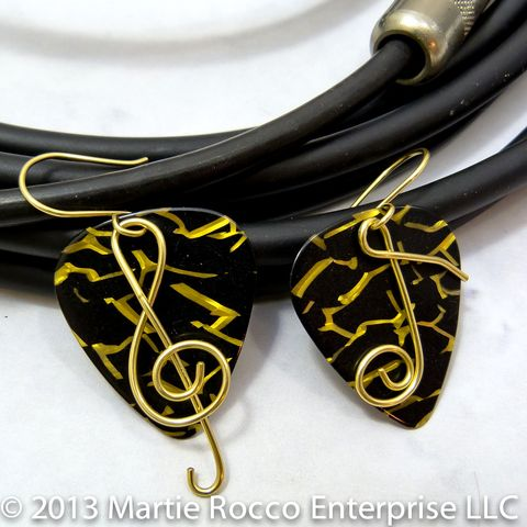 Black,and,gold,Guitar,Pick,earrings,with,brass,wire,Treble,clef,music,note,Black and gold Guitar Pick earrings with brass wire Treble clef and music note