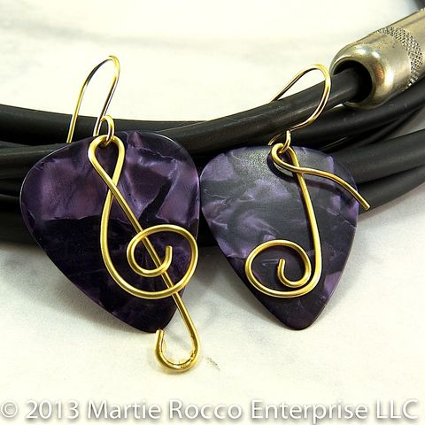 Purple,pearl,Guitar,Pick,earrings,with,brass,wire,Treble,clef,and,music,note.,Purple pearl Guitar Pick earrings with wire Treble clef and music note. Brass, copper, silver plate, Sterling Silver