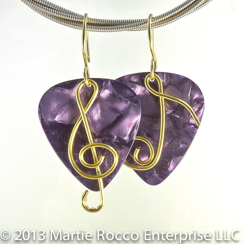 Purple pearl Guitar Pick earrings with brass wire Treble clef and ...