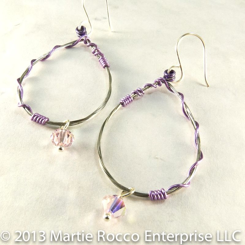 Guitar string earrings large oval hoop with purple wire wrap and a ...