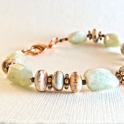Aquamarine,faceted,raw,nugget,bracelet,with,jasper,and,copper,Aquamarine faceted raw nugget bracelet with jasper and copper