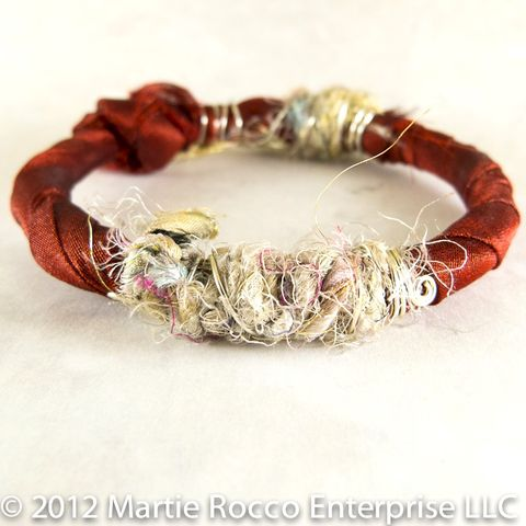 Red,organza,and,silk,yarn,wire,wrapped,bangle,bracelet, organza, silk yarn, wire wrapped, bangle, bracelet