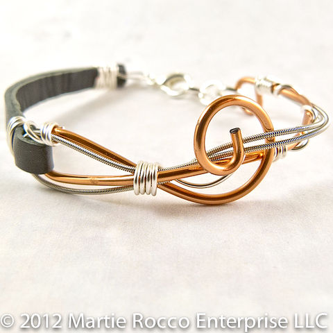 Guitar,String,bracelet,,copper,wire,treble,clef,,silver,and,leather,strap,Guitar String bracelet brass wire treble clef pink wire wrap