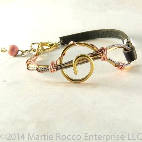 Guitar,String,bracelet,,brass,wire,treble,clef,,pink,wrap,,leather,strap,Guitar String bracelet, brass wire treble clef, pink wire wrap, leather strap