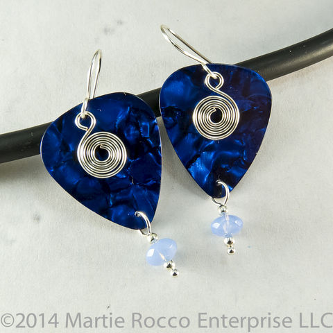 Dark,Blue,pearl,guitar,pick,earrings,silver,spiral,charm,glass,bead,Dark Blue pearl guitar pick earrings silver spiral charm glass bead