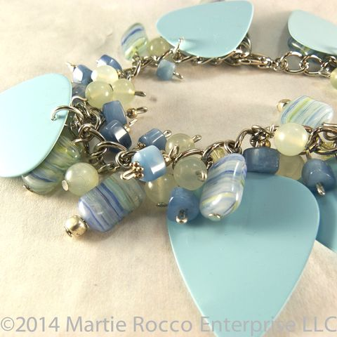 Baby,blue,guitar,pick,charm,bracelet,with,quartz,,green,aventurine,and,glass,beads,Baby blue guitar pick charm bracelet with blue quartz, green aventurine and glass beads