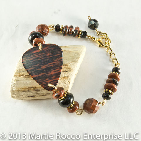 Black,and,red,guitar,pick,bracelet,with,poppy,jasper,black,onyx,beads
